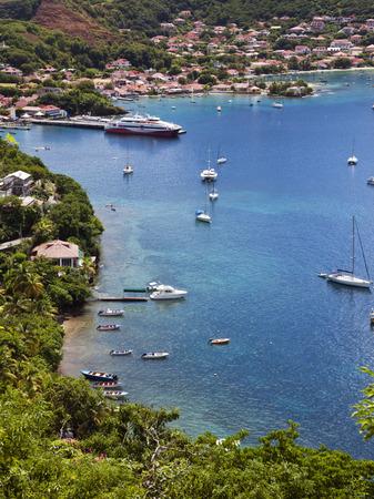 Harbor and village of Terre-de-Haut, Les Saintes islands, Guadeloupe archipelago Stock Photo