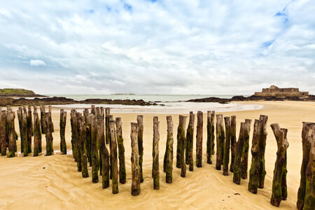 breakwaters: Beach of  Saint-Malo with wooden breakwaters and Fort National