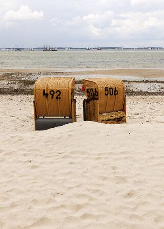 kiel: two beach chairs at the baltic sea near Kiel