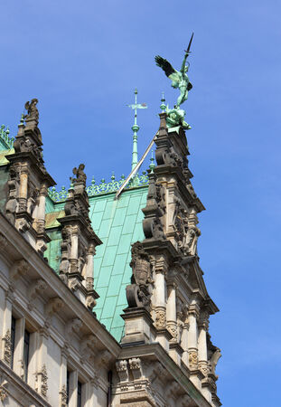 flaunt: gable of the town hall at Hamburg Stock Photo