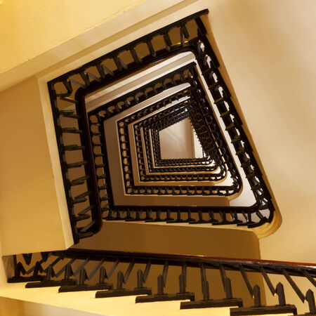 irregular shaped staircase from below