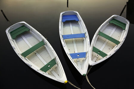 towed: three towed row boats on a pond, view from above