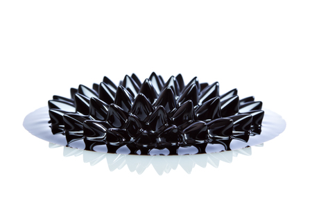 induced: Ferrofluid structure induced by a neodymium magnet close-up. Ferrofluid is a colloidal liquid of nanoscale particles in a carrier fluid that becomes magnetized by approaching a magnet.