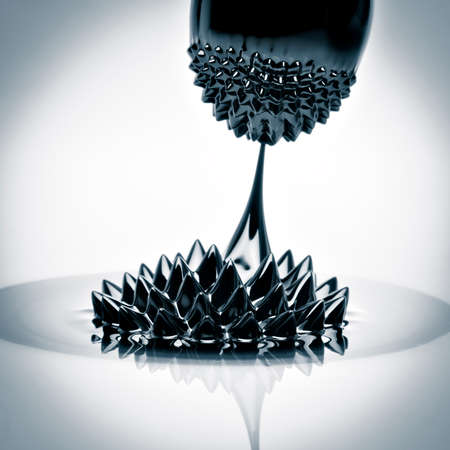 colloidal: Macro photograph of Ferrofluid flowing from one magnet to another. Ferrofluid is a colloidal liquid of nanoscale particles in a carrier fluid that becomes magnetized by approaching a magnet. Stock Photo