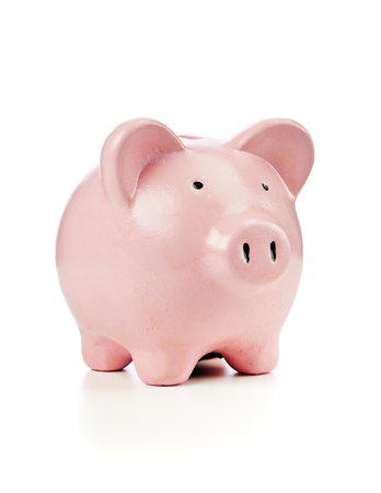 pink ceramic piggy bank isolated on white Stock Photo