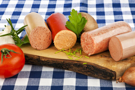 Variety of german sausage specialties photo
