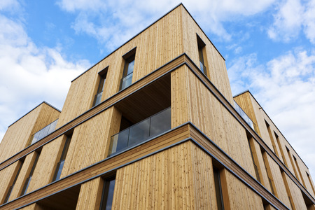 Contemporary apartment building made of wood at Hamburg Editorial