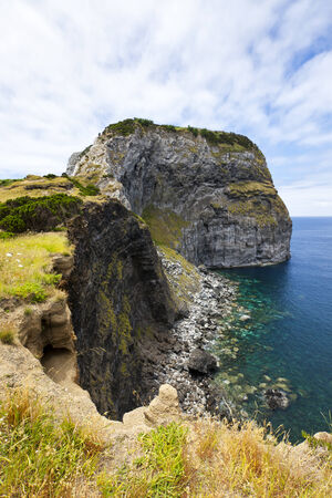steep cliff: Castello Branco, steep cliff on the island of Faial, Azores Stock Photo