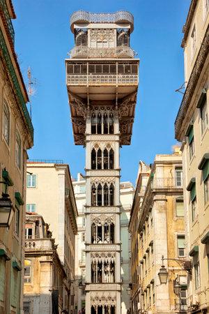 elevador: Elevador de Santa Justa at the downtown of Lisbon