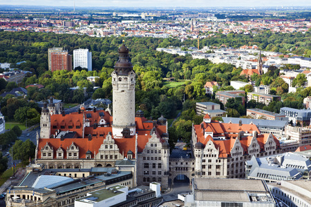 Aerial view of the new townhall and the Johannapark at Leipzig  Stock Photo