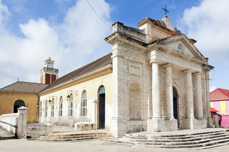 17th: 17th century classicist church at Le Moule, Grande-Terre, Guadeloupe Stock Photo
