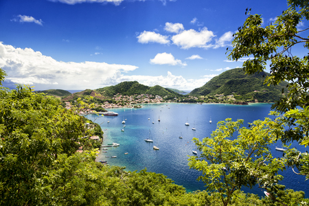 Town and bay of Terre-Haute, capital of Les Saintes islands, Guadeloupe archipelago, Caribbean Sea