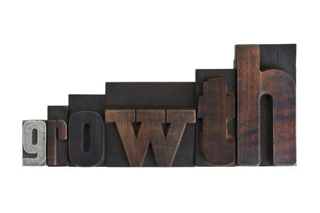 word growth in vintage wooden letterpress type, ascending sizes, scratched and stained, isolated on white background
