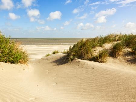 Strand en duinen bij Knokke-heist, Belgische Noordzeekust Stockfoto