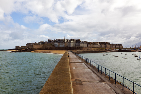rance: Intra-Muros, the walled old town of Saint-Malo, view from the pier