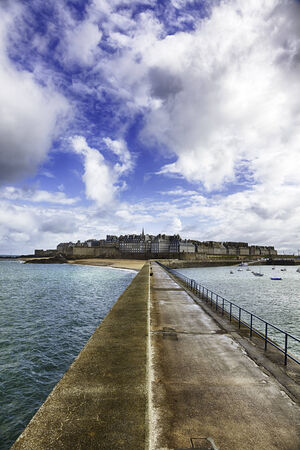 rance: HDR image of the walled old town of Saint-Malo Stock Photo