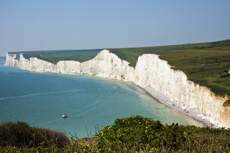 seven sisters: The Seven Sisters chalk cliffs at the Channel coast of Sussex, England Stock Photo