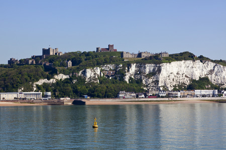 White cliffs of Dover, castle and beach