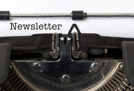 Word Nieuwsbrief geschreven met vintage schrijfmachine