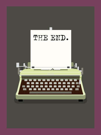 old typewriter: The End - Retro Typewriter Vector Illustration
