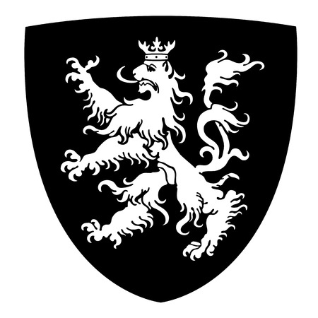 rampant: Coat of arms with lion on shield vector illustration