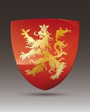 Golden lion on red shield coat of arms Illustration
