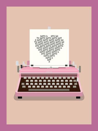 Love Letter - Retro Typewriter Vector Illustration Vector