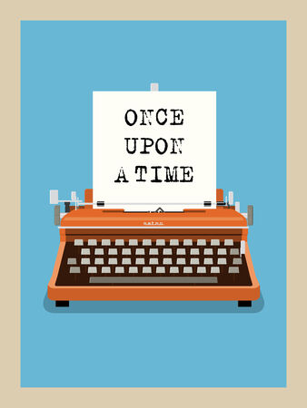 old typewriter: Once upon a time - Retro Typewriter Vector Illustration Illustration