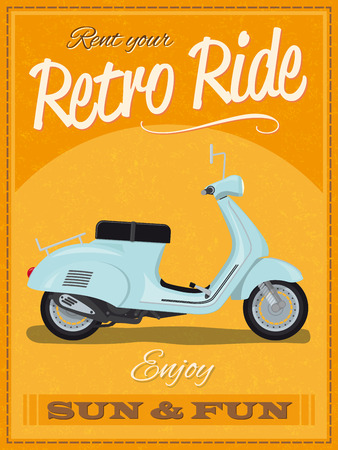 Retro poster design with vintage scooter illustration, sample text, banner and grunge texture Vector