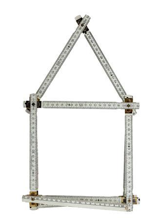 yardstick: Yardstick folded to shape of house, isolated on white background