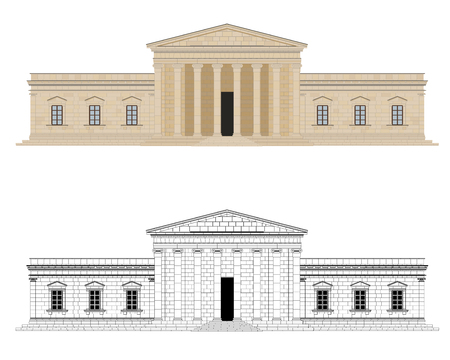 feudalism: Classicist Palace Vector Illustration