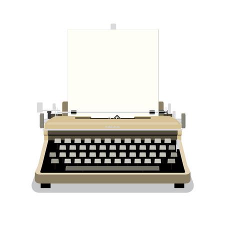 m�quina de escribir vieja: M�quina de escribir de la vendimia con el papel en blanco ilustraci�n vectorial Vectores