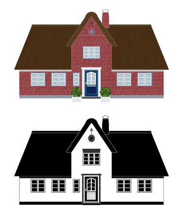 Thatched roof cottage vector illustration