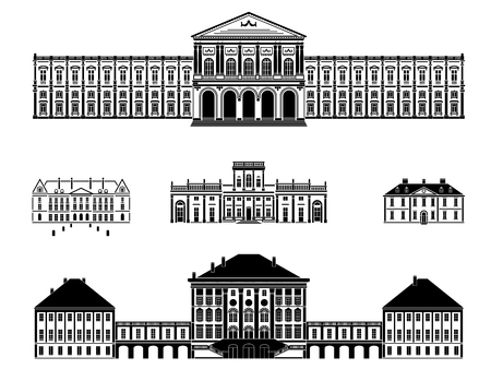 classicism: Castles, palaces and mansions vector illustration