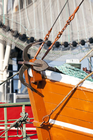 prow: Anchor on the prow of a shrimper