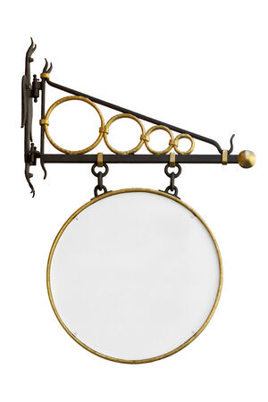 shop sign: Gold plated wrought iron wall mounted circular shop sign without text isolated with clipping path