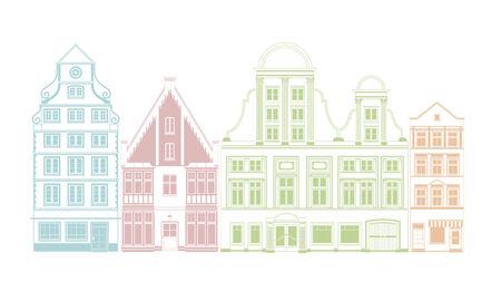 row of houses: Fila de cuatro casas de la ciudad en los estilos hist�rico ilustraci�n vectorial Vectores