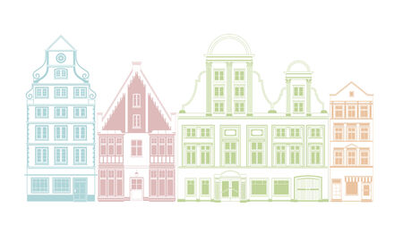 classicism: Row of four town houses in historic styles vector illustration Illustration