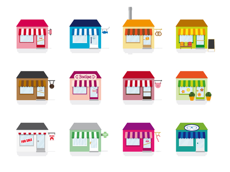 Variety of colorful little shop and store icons vector Vector
