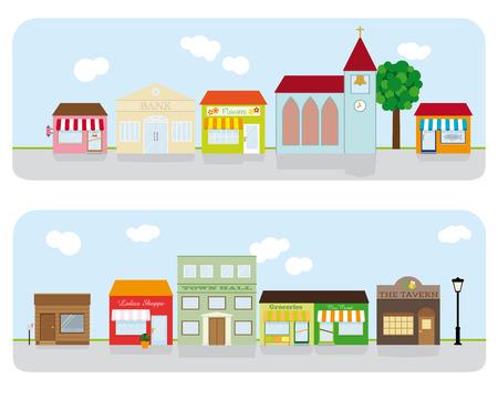 Village Main Street Neighborhood Vector Illustration