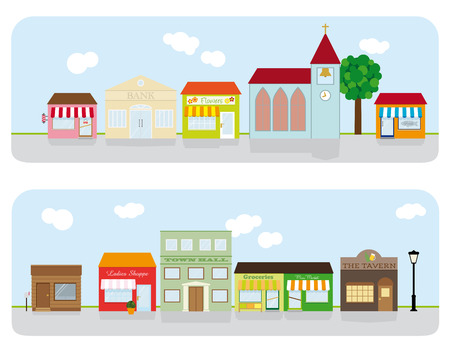 street vendor: Village Main Street Neighborhood Vector Illustration
