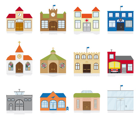 small town: Public Building Icons Vector Illustration