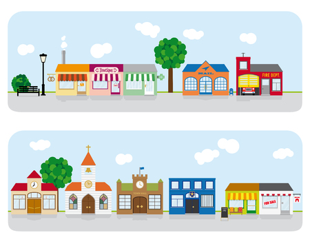 small town: Village Main Street Neighborhood Vector Illustration 2