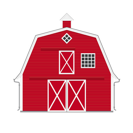 red barn: Traditional american red barn isolated vector illustration Illustration