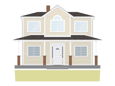 average: Suburban home isolated on white background  Flat design, no gradients