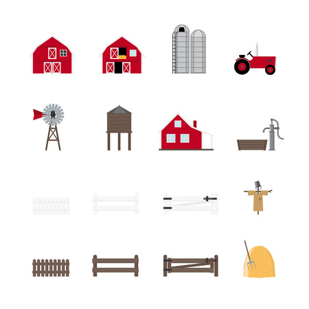 Farm Vector Icon Collection  Set of 16 flat design agriculture icons  Vector