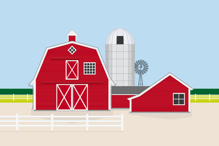 Vector Illustration of classic american farm with red barn, farm house, silo and windmill Flat design, no gradients