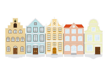 gable: Vector illustration of five historic townhouse icons  Each icon on separate layer, flat design, no gradients