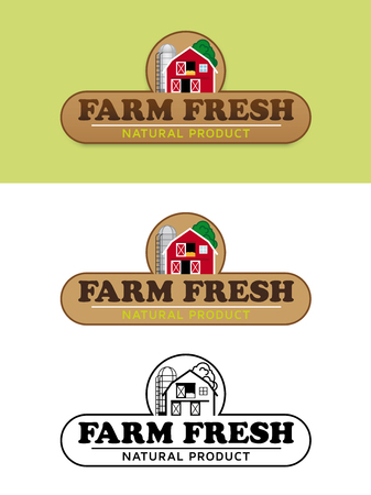 silo: Farm Fresh Food Label with Barn and Silo Vector Illustration Illustration