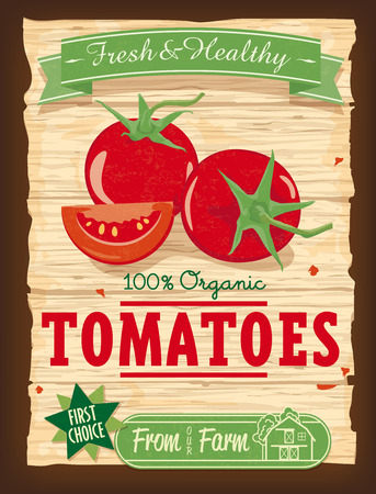 old barn: Vintage Design Organic Tomato poster Vector Vettoriali